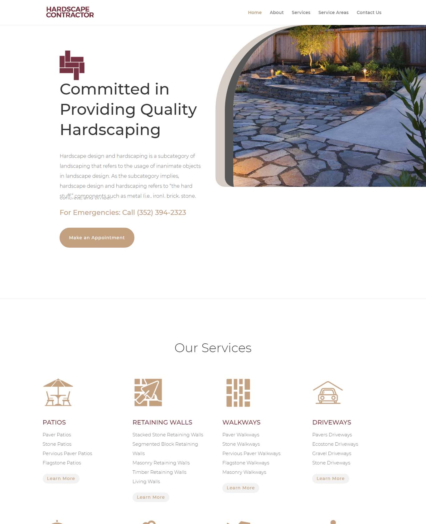 Commited in Providing Quality Hardscaping Website Sample